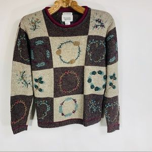 Vintage Wool Embroidered Wreath Sweater Small
